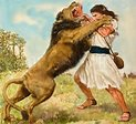 The Spirit of the Lord comes upon him and he tears the lion apart with his bare hands.